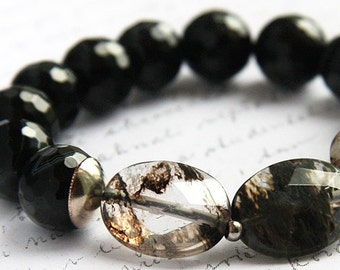 fathers Day Gift Exquisite Rutilated Quartz Bracelet Black Onyx Bracelet Sterling Silver Bohemian Faceted Gemstone Bracelet Large stones