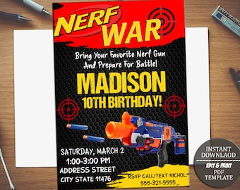 Nerf War Invite Etsy - Party invitation template: nerf war party invitation template