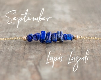 Lapis Lazuli Necklace, Raw Lapis Bar Necklace, September Birthstone, Choker Necklace, Birthday Gift, Healing Crystal Jewelry, Gift for Her