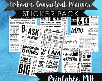 Arbonne sticker pack, planner stickers, gift for new consultant, sticker pack, GTC team gifts, printable stickers, agenda stickers, goals