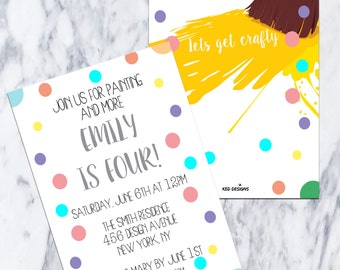 Printable-Birthday Invitation-Girl-Boy-Party-Fiesta-Custom-Invitation-fun-Polka Dot-Yellow-Crafty-Arts-Painting-Paint-paint brushes-