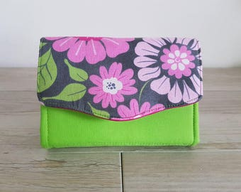MINI Necessary clutch wallet (NCW) Pink Flowers with Green and multiple card slots and zippered pocket