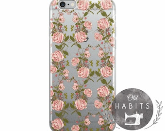 iPhone 6/6s, 6/6s Plus, 7/8, 7/8 Plus, X Case Colorful Power Roses Floral Pattern Leaves Seamless Tropical Handmade Item
