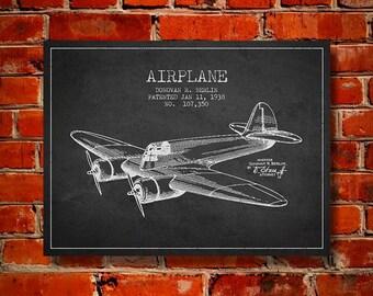 1938 Airplane Patent, Canvas Print, Wall Art, Home Decor, Gift Idea