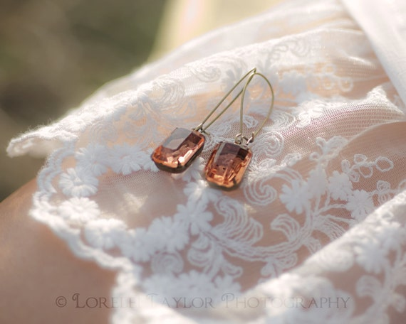 Champagne Peach Earrings | Brass Earrings | Emerald Cut Sheer Vintage Glass | Bridesmaids Earrings | Wedding Jewelry | Cocktail Earr