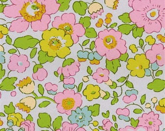 Printed fabric Liberty pattern Liberty Betsy pink yellow beryl