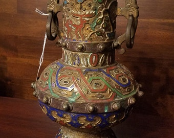 """9.75"""" A Japanese Cloisonne and Bronze Vase 1900"""