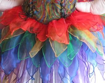 DDNJ Rainbow Fairy Pixie Sprite 4pc Cosplay Larp Anime Plus Custom Made ANY Size Renaissance Lolita Medieval Con Medieval Pirate Costume