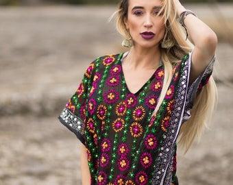 Hand Embroidered Silk Midi Kaftan
