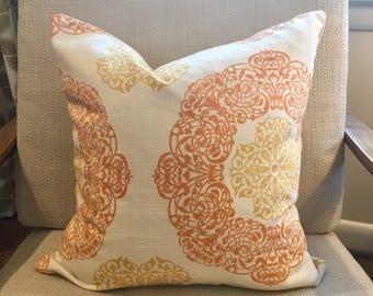 Orange, Gold and Ivory Medallion Pillow Covers/ Custom Designer Pillows / Home Soul Ginger / Handmade Home Decor Accent Pillows