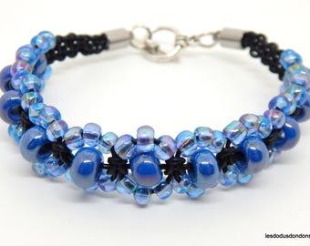 Black leather blue Beads Bracelet
