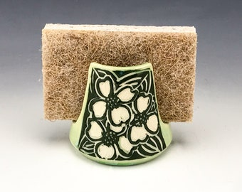 Sgraffito Ceramic Dogwood Spongeholder in Green and White