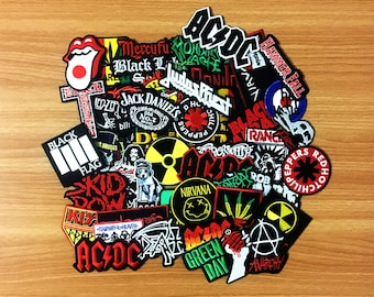100 pcs. RANDOM Embroidered Iron On Patch Music Rock Punk Band Music Heavy Meta, Wholesale Mixed sizes Random, Music Rock Punk Heavy Metal