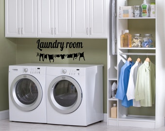Laundry Room Decal,laundry vinyl sticker, clothesline decal sticker, laundry room décor, home décor, vinyl wall art