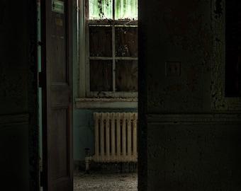 resuscitator room - 8x12 art photography print of an open door to the resuscitator room of building 135 of an abandoned asylum, signed.