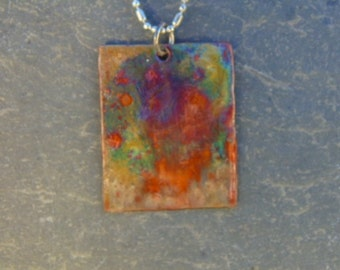 Rainbow Torch Fired Copper Pendant Hand Made *FREE US SHIPPING*