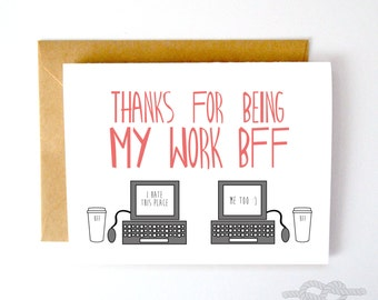 Funny Friend Card, Funny Card, Best Friend Card, Work BFF Card, Work Husband Card, Funny Card, Love Card, Just Beacuse Greeting Card