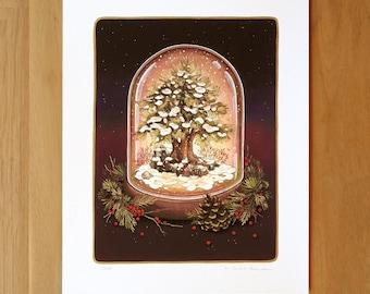 Hand Embellished - Beacon Snowglobe - Fine Art Print by Nicole Gustafsson