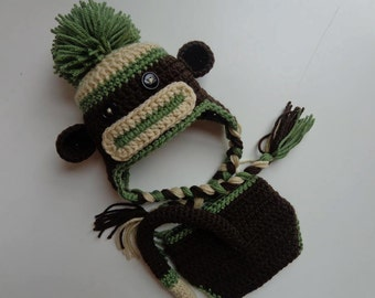 Newborn Crochet Brown and Green Sock Monkey Hat and Diaper Cover- Photo Prop- baby Boy baby Girl