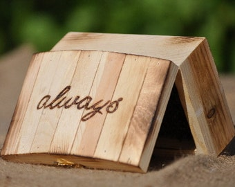 Personalized Ring Bearer Box-Rustic-Fairy Tale Wedding- Ring Bearer Pillow Alternative