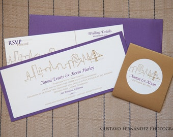 Modern City Skyline Wedding Invitation Suite / San Francisco San Diego Washington DC  / Rsvp Map Details Card