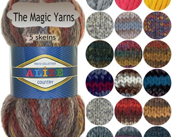 ALIZE COUNTRY NEW,Set of 5 skeins,wool yarn,super chunky,bulky yarn,multicolored,fancy yarn,Very bulky, super bulky,knit scarf with fingers