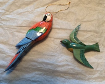 Vintage, handpainted, wooden bird Christmas ornaments, parrot, swallow, 1970's