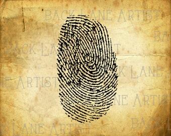 Fingerprint Clipart Lineart Illustration Instant Download PNG JPG Digi Line Art Image Drawing L066
