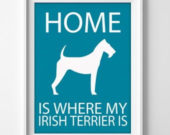 Irish terrier wall art print for personalized home decor or housewarming gift