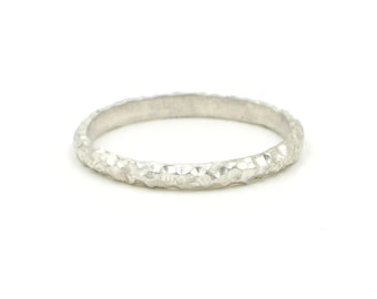 textured silver stacking ring - sterling silver - silver wedding band - boho - artisan jewellery