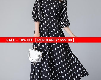 Black and White  polka dot dress, retro womens dress, summer dress, party dress, formal maxi dress, puff sleeves dress, polyester dress 1901