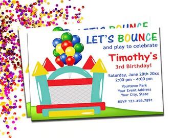Sprungkraft Haus Einladung, springen einladen, personalisierte druckbare lässt Bounce Einladungen, junge oder Mädchen-Bounce-Party, DIY digitaler Download