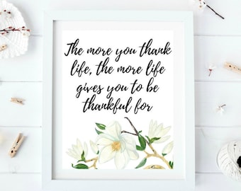 Printable women gift, Gratitude printable, Magnolia, Daily gratitude, Be thankful, Typography print, Quote printable, Cubicle decor
