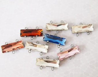 1 Glass Rhinestone Pendant Connector Rectangle Colour Clear Metal Antique Silver Tone Base Size 10x30mm