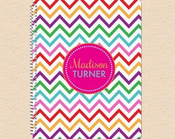 Rainbow Chevron - Circle Monogram - Personalized, Custom Spiral Notebook