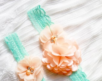 Wedding Garter Set Bridal Garter Belt Lace Garter - Peach Flower Garter Salmon Pink Floral Mint Lace - Bridal Shower Gift Wedding Gift