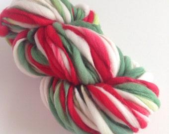 Handspun Thick and Thin Merino Wool Yarn - 50 yards - Holly Jolly