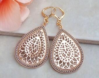 Large Metal Earrings.Filigree Earrings.Moroccan.Gold.Silver.Statement.Modern.Bridal.Big Earrings.Long.Tear Drop.Boho.Two Tone.Handmade.