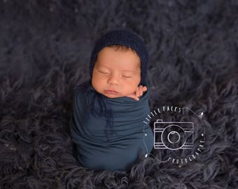Navy Blue Mohair Bonnet - Newborn Photo Props - Knit Mohair Bonnet - Mohair Props - Knitted Bonnet - Newborn Bonnet - Knit Newborn Bonnet