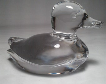 """Orrefors Sweden Crystal Duck Mllard - Crystal Clear and Perfect Clarity 5"""" x 4"""" x 3-1/2"""""""