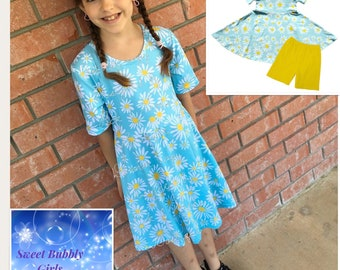 Daisies Twirly Dress with Shorts