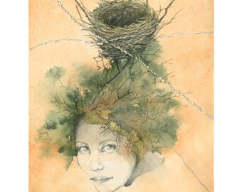 Fine Art Nest Print Giclée A4 21 x 30 cm of my watercolor illustration