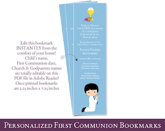 Personalized 1st Communion Bookmark, first communion bookmark favors for boys, Communion favors, PDF file You edit at home with ADOBE READER