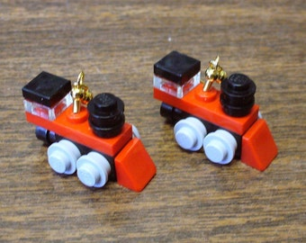 Mini Red Train Engine Dangle Earrings