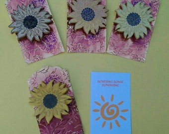 Sending Some Sunshine Your Way Wooden Sunflower Brooches