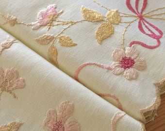 "Beautiful Victorian Society Silk ""Wild Roses & Bows"" Hand Embroidered Cotton Tablecloth"