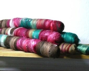 Art Rologs: Madame et Monsieur. Textured. Luxurious, handdyed, handcarded, supersoft, blended, wool, silk, spinning, felting, art yarn