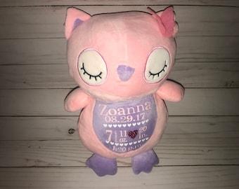 Birth Announcement Plush-Personalized baby gift-Birth Stat Owl- Birth Stat Stuffed animal- New baby gift- Christening gift-1st Birthday Gift
