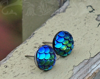 Dragon Scale Scale Stud Earrings, 10mm Blue and Teal Shimmer Mermaid Scales, Titanium or Stainless Steel Posts