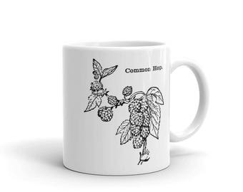 Gift for Him, Common Hops Mug, Craft Beer Mug, Beer Coffee Cup, Gift for Beer Lover